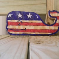Vineyard Vines american flag inspired whale sign decor patriotic nursery preppy nautical baby room beach house