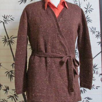 Brown Tweed Sweater, Tie Closure, Women Wrap Sweater Brown
