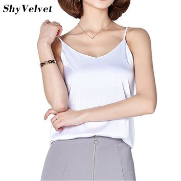 Women Camisole Camis Silk Halter Top 2018 Sexy Sleeveless Vest Slim Tank Tops Female Roupas Solid White Green Gray Pink