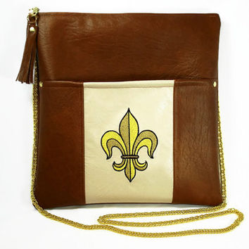 Brown Crossbody Bag With Fleur De Lis Brown Vegan Leather Crossbody Bag With Embroidered Fleur De Lis Design Chain Strap Purse