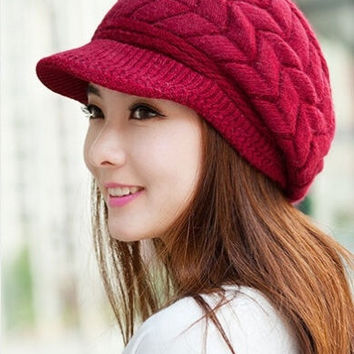 shop beanie hat with brim on wanelo