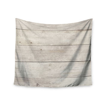 "Susan Sanders ""White Wash Wood"" Beige White Wall Tapestry"