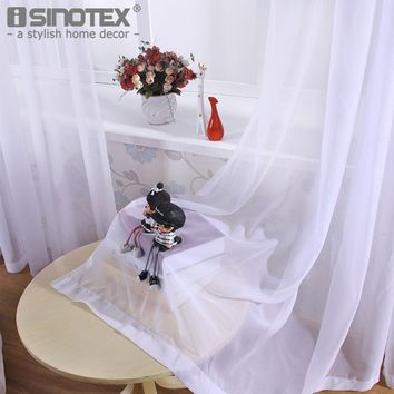 iSINOTEX Window Curtain Voile Fabric White Solid Transparent Sheer Living Room Tulle Voile Screening Drape Panel Home Decoration