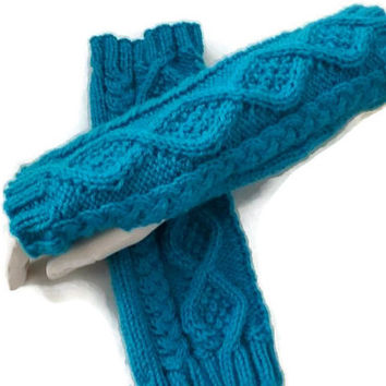 Knit Fingerless Gloves, Long Cable Arm warmers, Womens Gloves, Winter Accessories