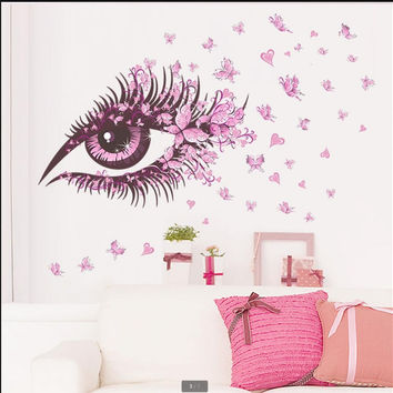 HM0066 burst of pink eyes butterfly living room TV wall decorative wall painting can remove the wall stickers SM6