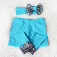 Aqua Blue Leggings and Headband Set - Cotton Jersey Leggings - Metallic Dark Bow Headband and Cuffs - Girls Leggings