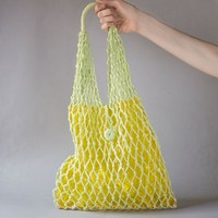 Vintage jute string bag net. Light Green summer Tote. Knotted Beach shoulder Bag. Transparent clear nylon bag. Boho hippie bag 70s fashion