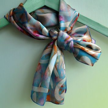 Silk Satin Graffiti Scarf, Soft Scarf, Turquoise and Coral, Women's Accessories, Mothers Day Gift