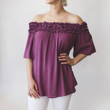 Ruffle Off Shoulder Top - Purple