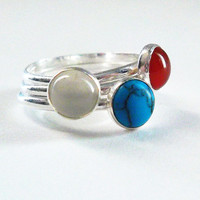 Gemstone Stackable Rings, Set of Three (3) Red Blue and White Stone Rings, Fourth of July Jewelry