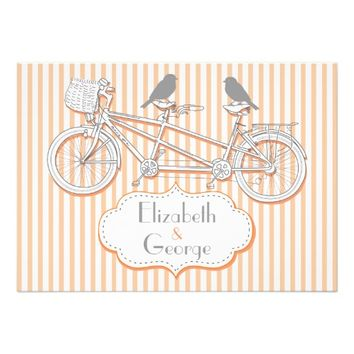 Tandem bicycle peach stripes wedding