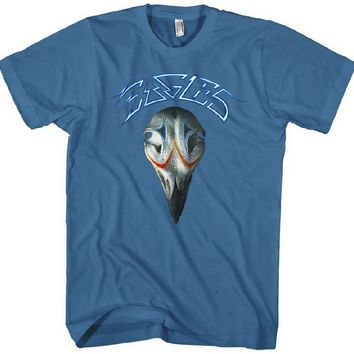 Eagles Classic Rock n Roll Band T-shirt - Greatest Hits Album Cover Artwork | Men's Blue Shirt