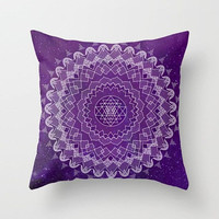Purple Mandala Throw Pillow,  purple home decor, boho cushions