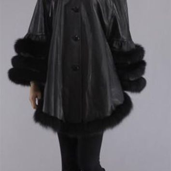 BEAUTIFUL LEATHER CAPE with BLACK FOX FUR TRIM