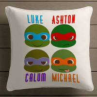 5 seconds of summer ninja turtles Square Pillow Case Custom Zippered Pillow Case one side and two side