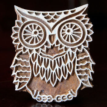 Hand Carved Indian Wood Textile Stamp Block- Cute Owl