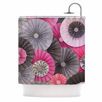 "Heidi Jennings ""Bubble Gum"" Pink Gray Shower Curtain"