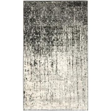 Safavieh Retro Mid-Century Modern Abstract Black/ Light Grey Distressed Rug (2'6 x 4') - Walmart.com