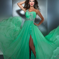 Mac Duggal Prom 2013- Key Lime One Shoulder Gown With Criss Cross Embellishments Along Waist - Unique Vintage - Cocktail, Pinup, Holiday & Prom Dresses.