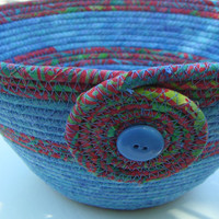 Coiled Fabric Bowl, Fabric Basket, Medium Batik Bowl, Blue and Red