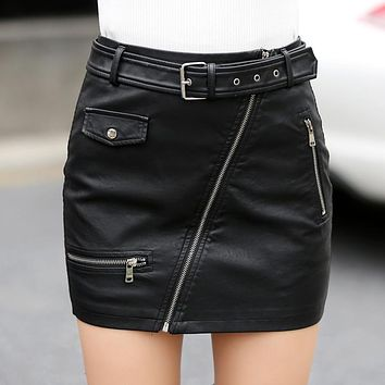 Leather Skirt Women 2017 High Waist Pencil Skirt Women Fashion Women Slim Skirts Sexy Skirts Ladies PU Leather Woman