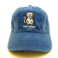Tail Therapy Cat Thick Stitch Baseball Cap - Maritime Blue - Great Gift for Cat Lovers!
