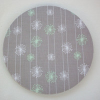Mouse Pad mousepad / Mat - Rectangle or round - gray mint green dandelions - cubicle decor office desk coworker gift
