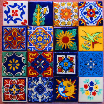 16 pcs Mexican Tile Talavera Handmade talavera tile 2x2 mosaic craft tiles construction tribal tile magnet # 02