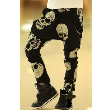 SQBCMW 2017 Hot sale Unisex size100~150 kids child clothes children pants for boys trousers girls harem pants skull black