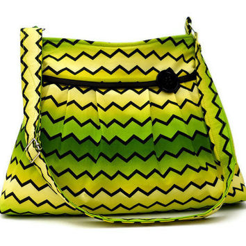 Zig Zag Purse - Pleated Shoulder Bag - Yellow Green Fade - Medium - Adjustable Strap - 6 pockets