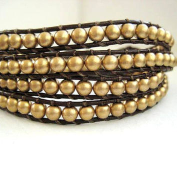 Mega Goddess Bracelet - Gold Czech Glass Beaded Leather Quadruple Wrap Bracelet Chan Luu Style Gold Flower Button