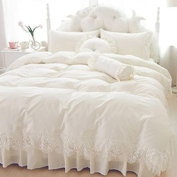 Cool Wedding lace bedspread princess bedding sets queen king size 4/6pcs Girls Ruffles duvet cover bed skirt bedclothes cottonAT_93_12