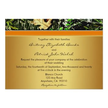 Orange Hunting Themed Camo Wedding Invitations