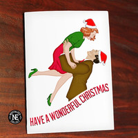 Wonderful Christmas Greeting Card -  Inspired from Its a Wonderful Life -  5 X 7 Inch - Happy Holidays - Seasons Greetings
