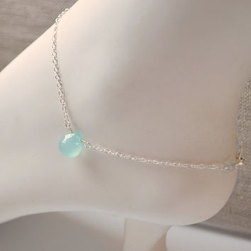 NEW Sterling Silver Anklet, Aqua Gemstone, Blue Chalcedony, Wire Wrapped, Delicate, Dainty Chain, Simple Jewelry, Free Shipping