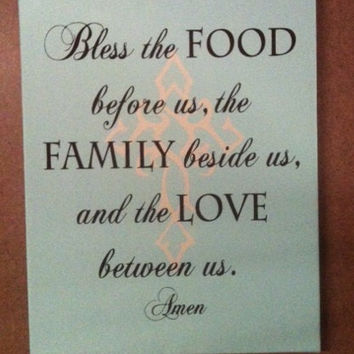 "Bless the food before us, family beside us and love between us with cross 11""x14"" Canvas wall hanging. Perfect for the Holidays or as a gift"