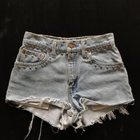 Levis Cut Off Studded Denim Jean Shorts