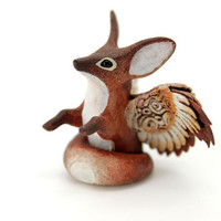 Winged Fennec Fox Totem Figurine Sculpture, Animal magic spirit amulet