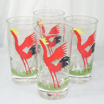 4 Vintage Federal Glasses Red Rooster Water Drinking Lot