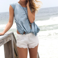 Ocean Floor Asymmetrical Hem Blue Top