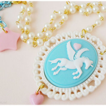Pastel Blue Pegasus Cameo Necklace, Beaded Pearl Chain with Oversized Pendant in Gold - Fairy Kei