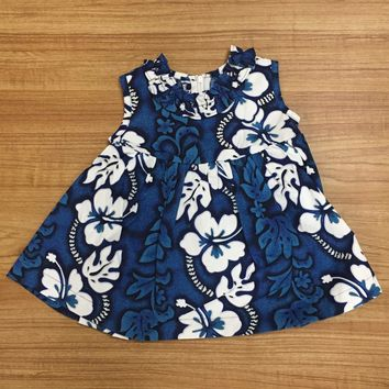 KY's Blue and White Hibiscus Girls Aloha Dress