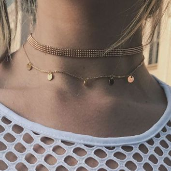 ac NOVQ2A Taffy Korean plate round piece simple personality neck chain girl short style collar bone necklace with neckline accessories and accessories necklace.