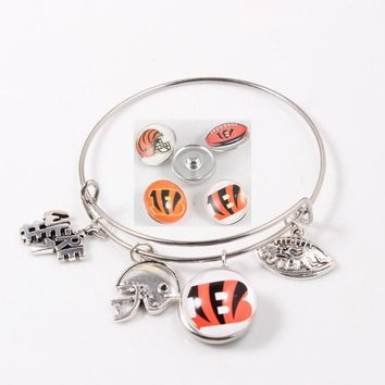 DIY Charms Bracelet Cincinnati Bengals Snap Button Bracelet Expandable Bracelet  Men Women USA Football Jewelry 4pcs/lot