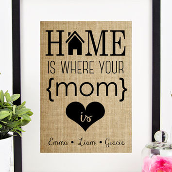 Personalized Mother's Day Gift | Gift for MOM | Burlap Print Birthday Gift for Mom | Children Names Wall Art | Home is Where Your MOM Is