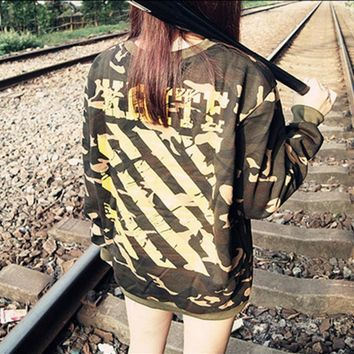 One-nice™ Camouflage OFF White Yellow ink striped pullover cotton loose hip-hop men and women sweater