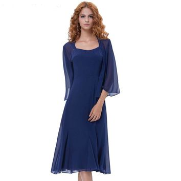 Short Cocktail Dresses with Cape Open Front Navy Blue Dress