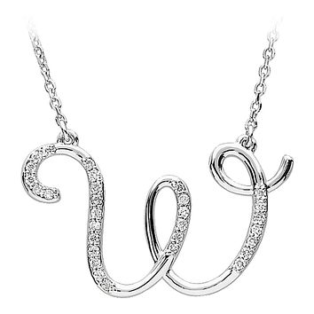1/6 Ctw Diamond 14k White Gold Medium Script Initial W Necklace, 17in