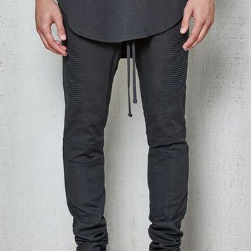 VONE05W PacSun Drop Skinny Moto Black Stretch Jogger Pants