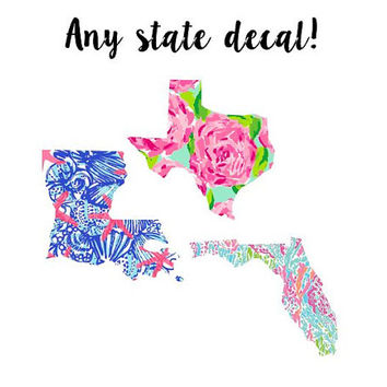 Lilly Pulitzer State Decal, Lilly Inspired Decal Any State, Lilly Pulitzer Decal, Lilly car decal, Lilly Pulitzer Yeti decal Custom Decal